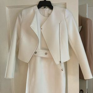 White dress suit with crop jacket